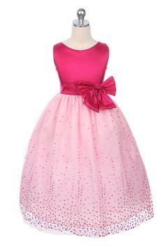 Sweet Kids Tea-Length Flocked Mesh Dress