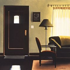 "Painting: ""Time Out"" – 2002, by artist, R. Kenton Nelson (b. 1954) – oil on panel 12x12 (Privately collection)."