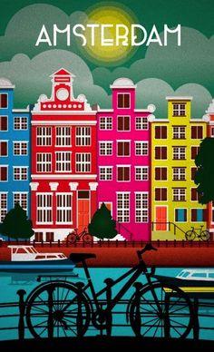 Retro poster, Amsterdam, Netherlands