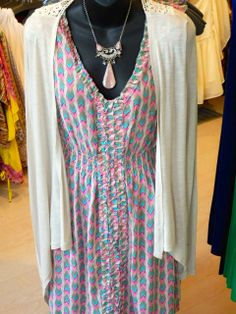 Pink and blue v-neck print dress