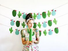 Cactus Garland - Mexican Fiesta Banner, Taco bout a Party, Photo Booth, Taco Bar, Bachelorette Baby Shower Deco Cactus, Cactus Decor, Taco Party, Fiesta Party, Llama Birthday, Baby Shower Photo Booth, Party Garland, Bunting Garland, Mexican Party