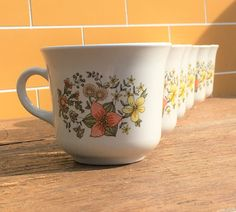 Cup Mug~Meadow 1970's Vintage Corelle by Corning | Tea Cup Teacup Coffee | Corningware Pyrex | Handle | Yellow Pink Flower by ShowMeShabby on Etsy