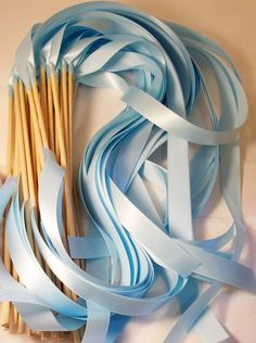 Items similar to Satin Wedding Ribbon Wands - Custom Colors - Pack of 200 - Shown in Light Blue Cinderella Wedding on Etsy Cute Wedding Ideas, Wedding Pics, Diy Wedding, Wedding Reception, Dream Wedding, Wedding Day, Wedding Inspiration, Wedding Favours, Quirky Wedding
