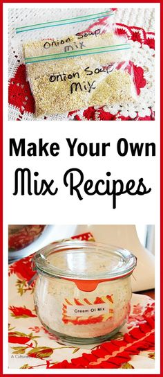 Make Your Own Mix Recipes Have you cut your food bill as much as you can but still need to find a way to cut further? One way to save more is to make your mix recipes. Homemade Dry Mixes, Homemade Spices, Homemade Seasonings, Homemade Recipe, Homemade Food, Do It Yourself Food, Spice Mixes, Spice Blends, Soup Mixes