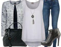 Abendoutfit ♥ Hier kaufen:  http://stylefru.it/s42459 #Blazer #Muster #jeans
