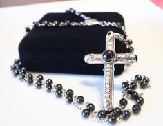 Cruel Intentions Rosary Stash Necklace - Garnet & Sterling Silver Pendant