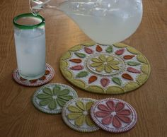 Display a fruity punch and protect your table from sweaty summer drinks with a wool applique embroidery pattern for citrus drink coasters and a juice jug mat. It will be Easy Peasy to make one for yourself and a hostess gift too. Bright fun colors for a feeling of summer cottage decor.  This is for a DIY penny rug kit. The full kit which includes the pattern, wool felt, floss and a needle. Colors shown are lemon, lime, orange punch and pink lemonade. Language: English (written in English by…