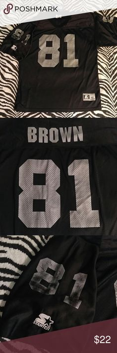 """Vintage Starter Raiders Tim Brown jersey XL Awesome Raiders throwback jersey of Hall of Fame legend Tim Brown. Jersey features some wear on the numbers as pictured but it lends to the awesome, stylish vintage feel. Length 32"""", Width 24"""" Vintage Shirts"""