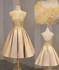 On Sale Luscious Lace Prom Dresses, Cute Gold Lace Short Prom Dress, Cute Gold Homecoming Dress Champagne Homecoming Dresses, Cute Homecoming Dresses, Elegant Prom Dresses, Backless Prom Dresses, Prom Party Dresses, Evening Dresses, Short Dresses, Dress Party, Gold Dama Dresses