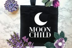 Cotton Black Tote Bag perfect for use as a Market Bag, Grocery Bag, Book Bag or everyday Bag! Witchcraft Books, Witchcraft Supplies, Gothic Dolls, Goth Art, Market Bag, White Vinyl, Black Tote Bag, Moon Child, Smudging