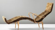 Bruno Mathsson 'Pernilla' chaise longue, 1944 Beech laminated plywood, birch, canvas, sheepskin. 90 x 172 x 63.4 cm (35 3/8 x 67 3/4 x 24 7/8 in.) Manufactured by Karl Mathsson, Sweden. Underside with two manufacturer's printed paper labels Bruno/MATHSSON/Möbler and Bruno/MATHSSON/FIRMA KARL MATHSSON/MADE IN – VÄRNAMO – SWEDEN, inscribed in pen with initials and date BM 44.