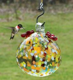 Recycled Glass Hummingbird Feeder And Instant Nectar