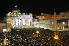 The crowd at St Peter's Square after white smoke billowed from the chimney of the Sistine Chapel announcing that Catholic Church cardinals had elected a new pope: Pope Francis I