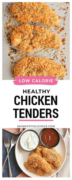 Healthy Chicken Fingers are low calorie, easy and gluten free! #healthy #chicken #fingers #lowcalorie #glutenfree #easy Low Calorie Chicken Recipes, Chicken Finger Recipes, Recipe Using Chicken, Healthy Low Calorie Meals, Healthy Cooking, Healthy Eating, Healthy Food, Clean Eating, Healthy Gluten Free Recipes