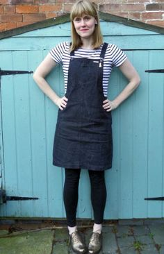 Teresa's Cleo dungaree dress - sewing pattern by Tilly and the Buttons