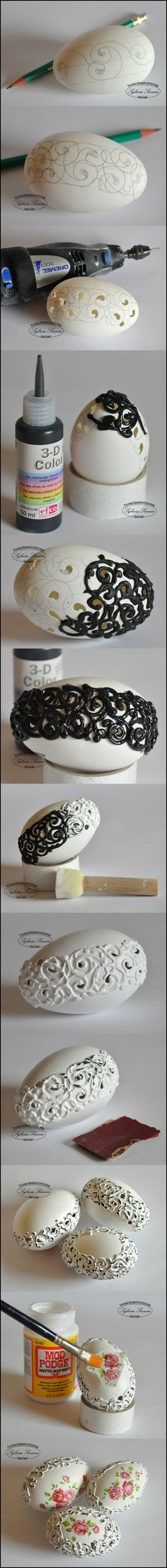 DIY/Craft Ideas :: Eggshell Decorations - love the idea! have learned wood carving and now have idea for my mini Dremel-like tool! Egg Crafts, Easter Crafts, Holiday Crafts, Diy And Crafts, Arts And Crafts, Holiday Decorations, Upcycled Crafts, Christmas Decor, Egg Shell Art