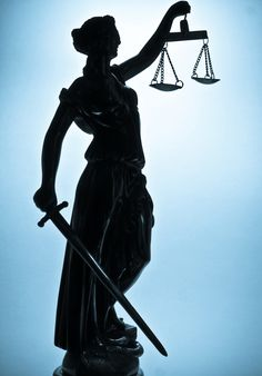 """Canvas print, poster """"Statue of justice. Silhouette"""""""