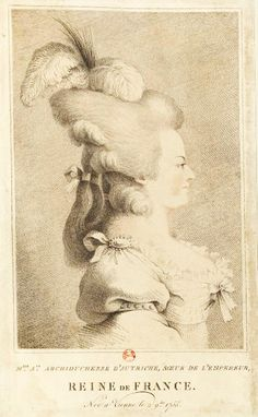 Marie Antoinette with her hair styled with two feathers and a tuft tied with a ribbon, which hangs on her neck. She has jewels and ribbons on her shoulders and chest.