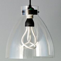 Lighting with a twist. Named after a bird's plume, the energy-saving Plumen® Bulb cleverly combines two light tubes that last 8 times longer and use less energy than incandescents. Use in any standard bulb fitting for a warm, white g… Industrial Light Fixtures, Modern Light Fixtures, Energy Saver, Globe Lights, Cool Lighting, Light Bulb, West Elm, Apt Ideas, House Ideas