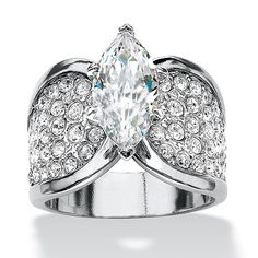 It\'s the cubic zirconia ring of your dreams - a visual delight. An impressive marquise-cut cz is surrounded by dozens oPrice - $49-Fc24ISne