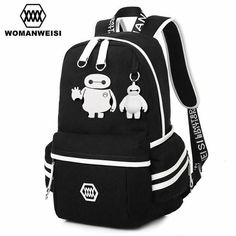 2017 Japanese Anime One Piece Printing Backpack For Teens Baymax Cat Canvas Fashion Student School Bag Brand Female Male Bagpack