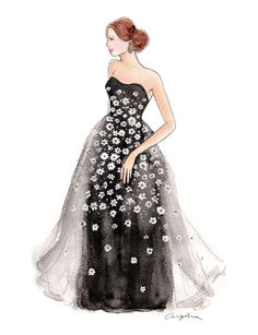 Carolina Herrera Resort 2015, fashion illustration - Black strapless embroidered daisy tulle gown