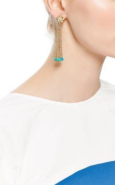 Palazzo 18K Gold Rope and Turquoise Drop Earrings by Aurélie Bidermann - Moda Operandi
