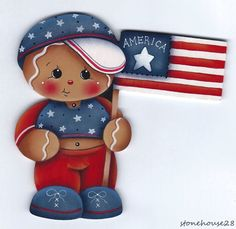 HP GINGERBREAD Patriotic Boy FRIDGE MAGNET #Handpainted