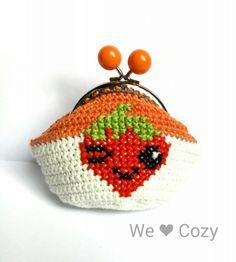 Strawberry purse crochet cross stitch – We Love Cozy