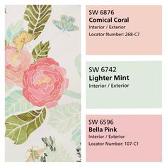 Sherwin Williams pink blush and mint paint color scheme. Brylies room