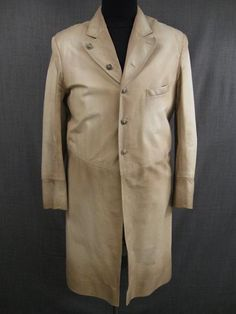 Frock Coat Men's 1880s cream brown leather