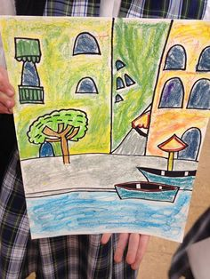Watercolor pastel paintings of Venice from KidzArt #Indiana!