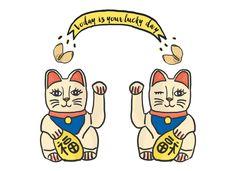 Fortune Cat on Behance Cat Design, Graphic Design, Maneki Neko, Cute Art, Funny Things, Label, Behance, Stickers, Drawings