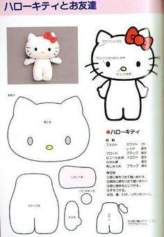 Chaveiro Hello Kitty em feltro com molde para imprimir - Como Faço