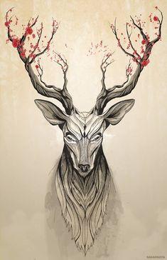 more deer trees deer art tree art posts print tattoos tree print . Cervo Tattoo, Art Sketches, Art Drawings, Sketches Of Animals, Drawing Animals, Hirsch Tattoo, Poster Mural, Poster Prints, Stag Tattoo