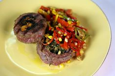 Grilled Steak with Charred Corn & Pepper Salad by Mario Batali Charred corn puts a new twist on this crowd-pleasing dish that will amaze the whole family!
