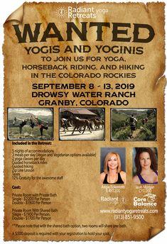 Yoga, Horseback Riding, Hiking in the Colorado Rockies, September 8-13, 2019.