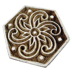 Traditional Spiral Designe Wooden Printing Block, Pottery Scrapbook Stamp, Indian Art Wood Craft, Decorative Fabric Border By 1 Pcs Fabric Stamping, Spiral Pattern, Wood Stamp, Handmade Clothes, Textile Prints, Fabric Decor, Clear Stamps, Wood Crafts, Printing On Fabric