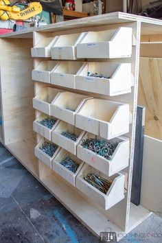 Get your workshop organized without breaking the bank by making your own DIY workbench storage bins to house small parts and hardware better still, attach them with a french cleat system for easy removal and return. bolt bins, screw storage, small parts Garage Workshop Organization, Garage Tool Organization, Diy Garage Storage, Workshop Storage, Tool Storage, Garage Bench, Workshop Ideas, Cool Storage Ideas, Wooden Storage Bins