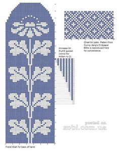 "Photo from album ""Pirstines"" on Yandex. Knitted Mittens Pattern, Knitting Socks, Knitting Charts, Knitting Stitches, Knitting Patterns, Bead Loom Patterns, Cross Stitch Patterns, Chart Design, Rugs"