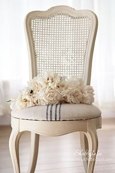 How to easily reupholster a French caned chair with ticking stripe fabric