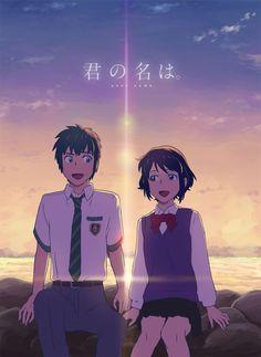 Your Name- Mitsuha and Taki Kimi No Na Wa, Anime Films, Anime Characters, Mitsuha And Taki, Anime Character Names, Manga Anime, Your Name Wallpaper, The Garden Of Words, Your Name Anime