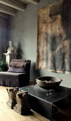 ♂ masculine rustic interior design with interesting wall deco colors