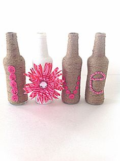 Twine wrapped love bottles, wrapped glass bottles, pink love, wedding decor, table centerpiece, bottle art, bottle decor, yarn wrapped by Fourgirlsfun on Etsy