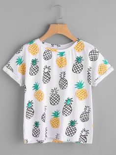 b7f4a811419 Shop Allover Pineapple Print Roll Cuff T-shirt online. SHEIN offers Allover Pineapple  Print Roll Cuff T-shirt   more to fit your fashionable needs.