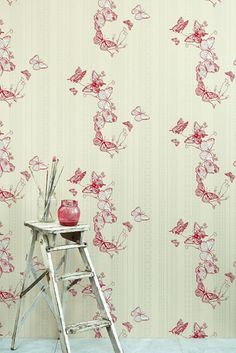 Butterflies, butterflies, everywhere!  Bring spring indoors with this lovely wallpaper - and don't forget our limited edition Spring cherry collection!  #loccitane en #provence #springlove