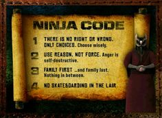 Pulling A Mikey: I Take My Ninja Code Very Seriously.So I got my 'Ninja Kit' from joining the Nick TMNT Fan Club, and I was giving it a closer look and discovered that my ID has the Ninja Code inside.