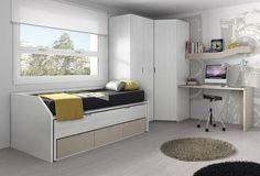 Habitación juvenil protagonizada por el color blanco. #muebles #decoración #hogar #diseño #interiorismo