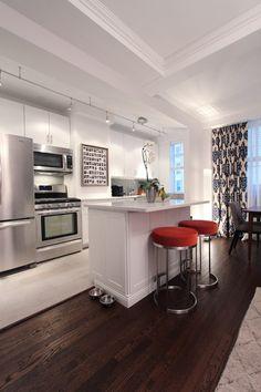 Ross's Cozy Modern Home in Midtown House Tour Condo Kitchen, Kitchen Decor, Nice Kitchen, Open Kitchen, Kitchen Island, Condo Design, Modern House Design, New Condo, Track Lighting In Kitchen