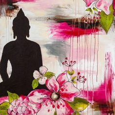 This red pink Buddha and flowers greeting card x is printed by a professional with good quality inks on glossy card stock. Buy the collection of 5 Bouddha cards! Buddha Kunst, Art Buddha, Buddha Artwork, Buddha Zen, Buddha Painting, Art Zen, Image Zen, Indian Art Paintings, Buddhist Art